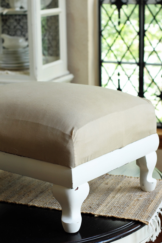 How to easily make a foot stool cover from Confessions of a Serial Do-it-Yourselfer