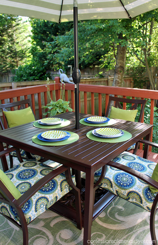 Patio Set Makeover using my Sew EASY Cushion Cover tutorial. Confessions of a Serial Do-it-Yourselfer