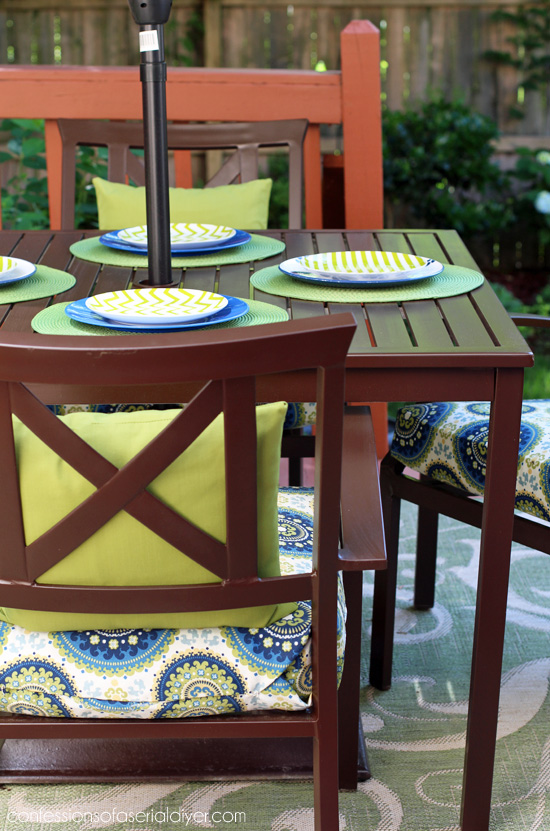 Spray paint is a quick way to update faded patio furniture.