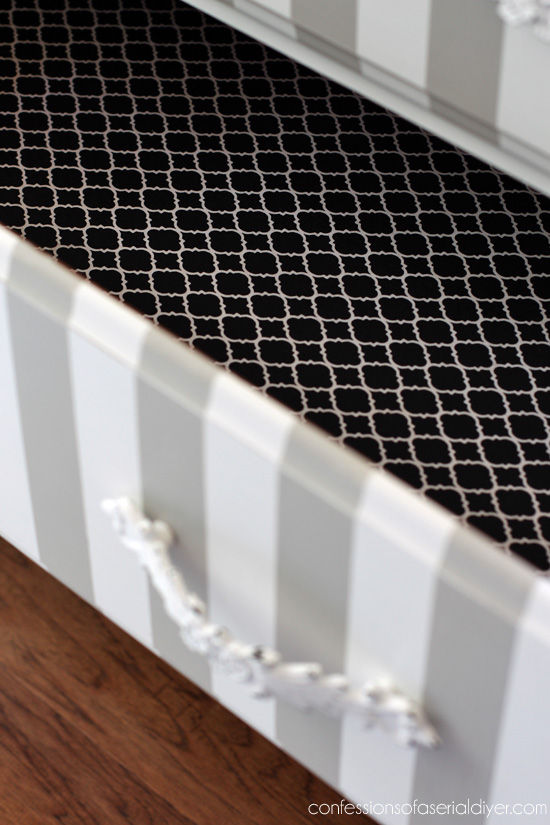 Line drawers with fabric using Mod Podge