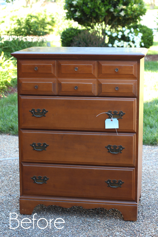 French-Linen-and-White-Striped-Dresser-Before