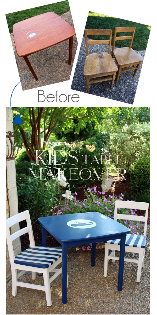 Whale kids' table and chairs from Confessions of a Serial Do-it-Yourselfer