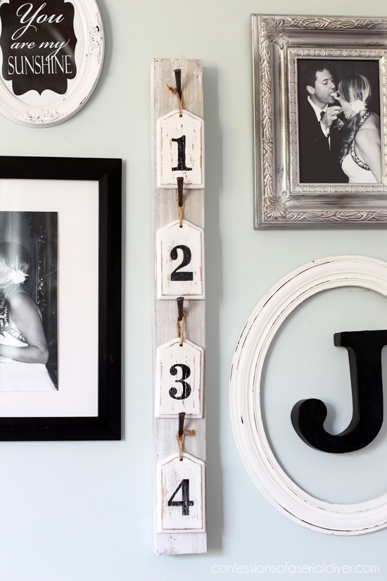 Take a Number... fun wall decor created from old picket fence parts from Confessions of a Serial Do-it-Yourselfer