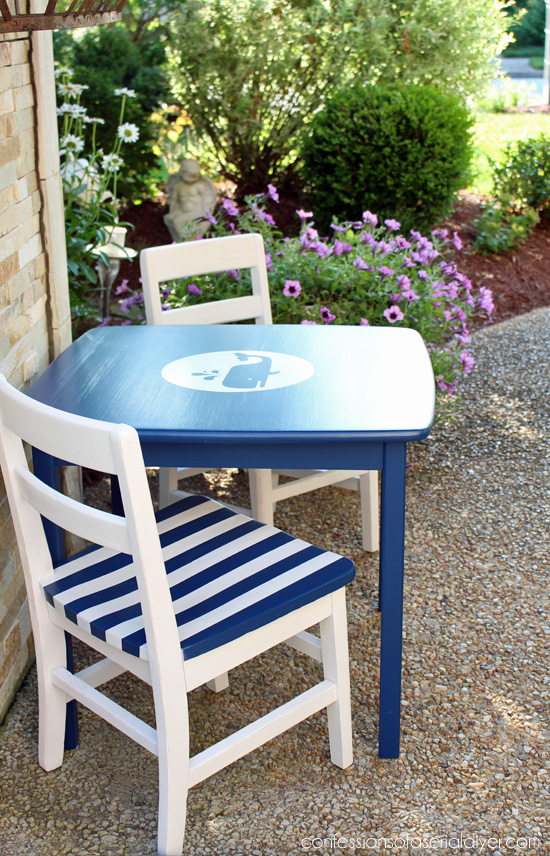 Nautical Table and Chairs for a kid's room