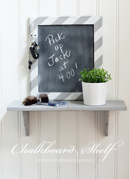 This chalkboard frame made from thrifted parts makes a great landing spot for keys, etc from Confessions of a Serial Do-it-Yourselfer.