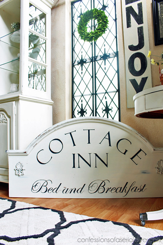 Cottage Inn Bed and Breakfast Sign made from an old hoel headboard from Confessions of a Serial Do-it-Yourselfer