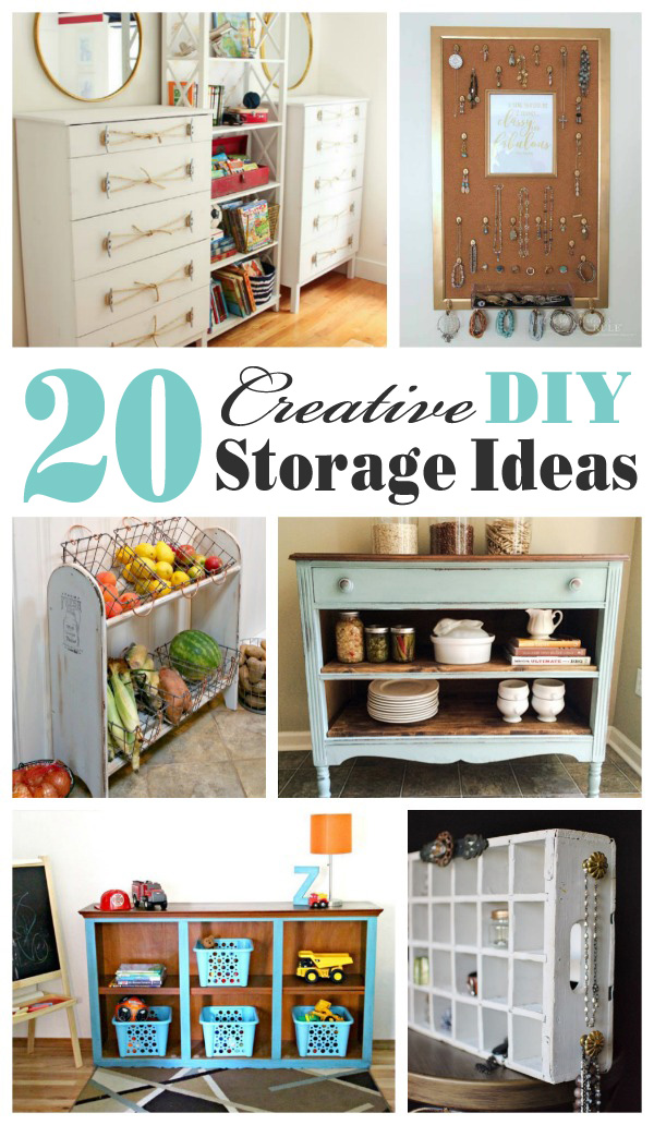 Creative DIY Storage Ideas- mostly upcycled and repurposed ideas...my favorite!
