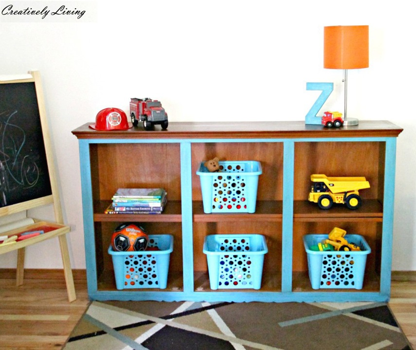 Hutch turned Playroom Shelving by Creatively Living