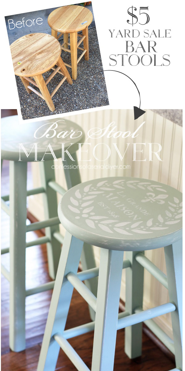 Yard Sale Bar Stools Painted in Inglenook by Fusion Mineral Paint confessionsofaserialdiyer.com