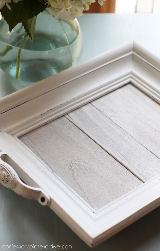 White-washed DIY Wood Tray made form an old frame and fence pickets. confessionsofaserialdiyer.com