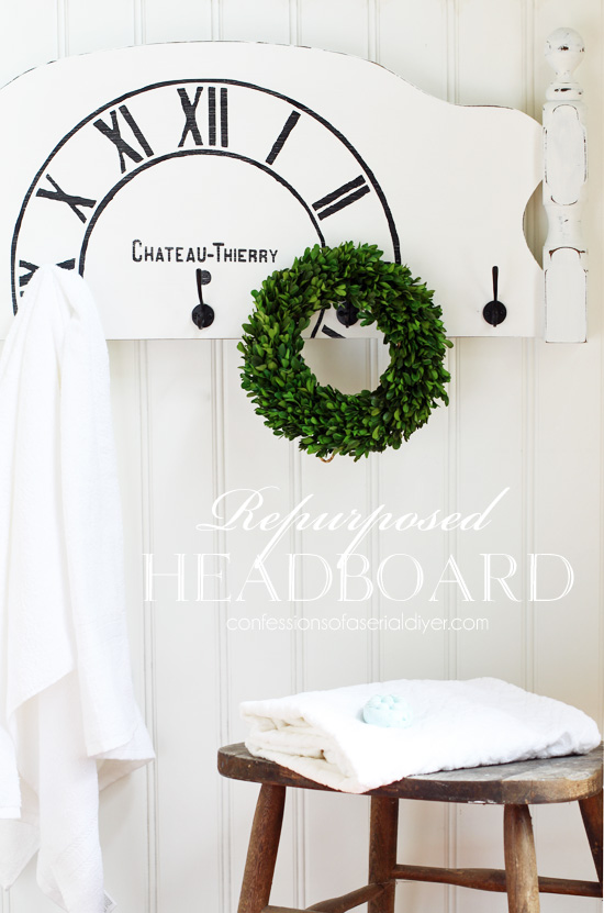 Repurpose an old headboard into fresh new decor! Confessionsofaserialdiyer.com