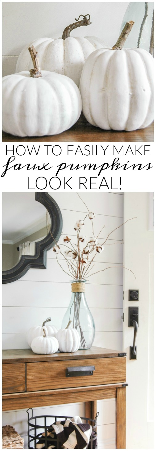 How to Make Inexpensive Faux Pumpkins Look Impressively Real from Little House of Four