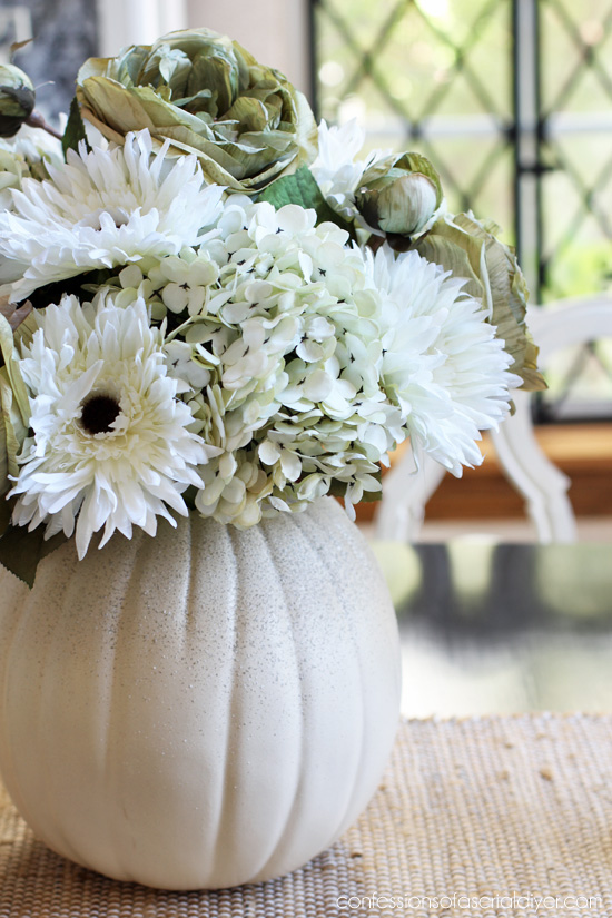 Faux Pumpkin Floral Arrangement from confessionsofaserialdiyer.com