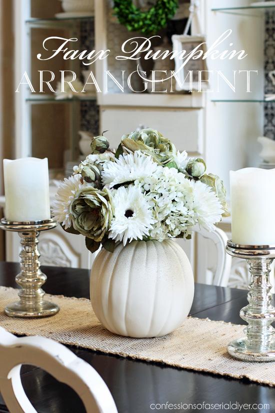 Faux Pumpkin Floral Arrangement from confessionsofaserialdiyer.com