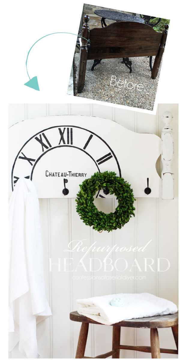 Repurpose an old headboard into a coat or towel rack! Confessionsofaserialdiyer.com