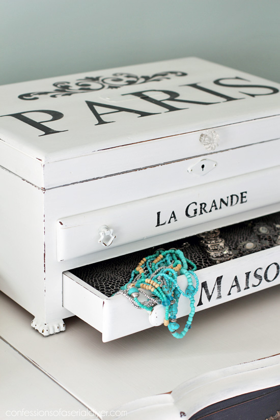 Paris Inspired Jewelry Box Makeover