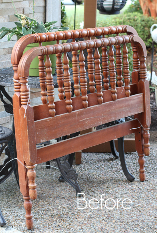 Antique Bed Stool: DIY Spindle Headboard Bench