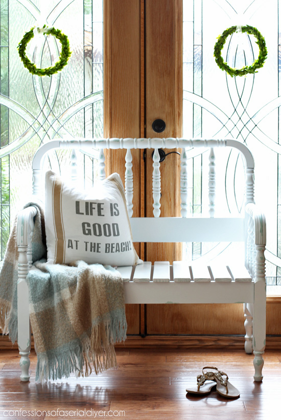 Vintage Spindle Headboard Bench From Confessionsofaserialdiyer