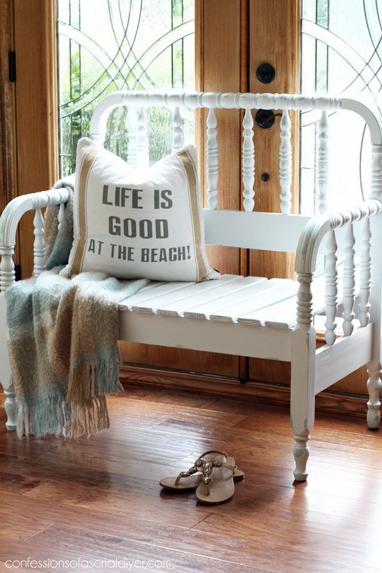 Vintage Spindle Headboard Bench from confessionsofaserialdiyer.com