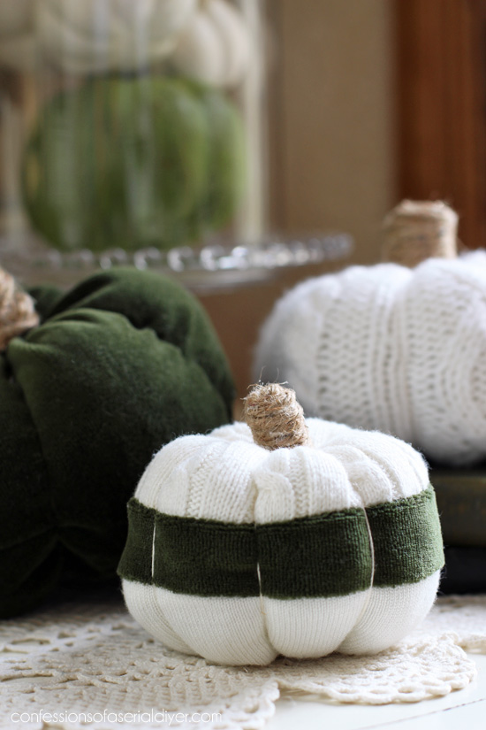 Striped sweater pumpkins from confessionsofaserialdiyer.com