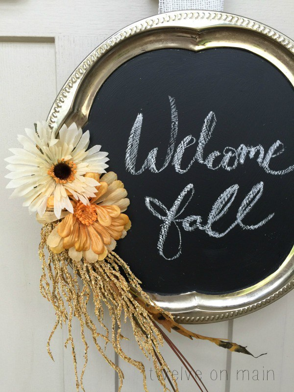 Chalkboard Style Fall Wreath from Twelve on Main