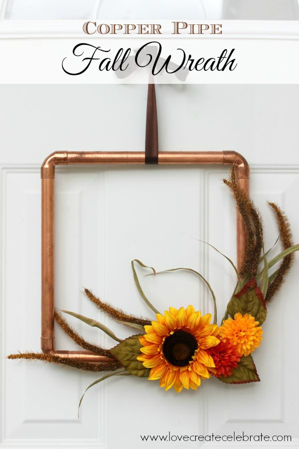 DIY Copper Pipe Fall Wreath from Love Create Celebrate