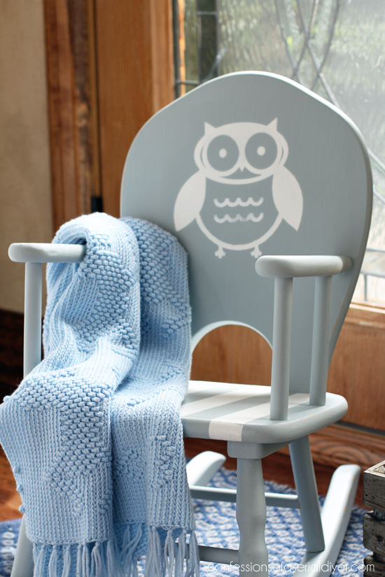 painted rocker with owl