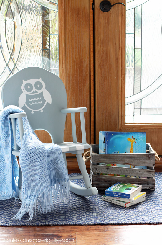 Child's rocker makeover from confessionsofaserialdiyer.com