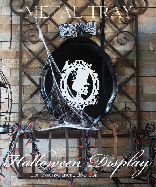 Metal Tray Turned Halloween Display