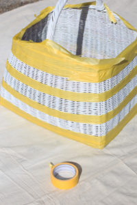 FrogTape for delicate surfaces is perfect for taping off stripes on any surface, including baskets!