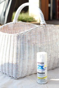 Rustoleum primer in white is perfect for painting baskets.
