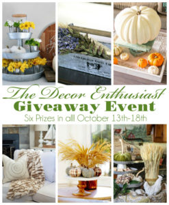 The Decor Enthusiast Giveaway Event October 13th-18th, 2016