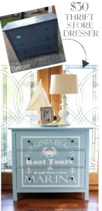 Thrift store dresser gets a coastal makeover by adding a fun graphic using the Silhouette Cameo. confesionsofaserialdiyer.com