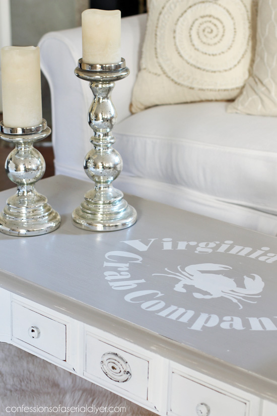 Vintage coffee table gets a coastal makeover from confessionsofaserialdiyer.com