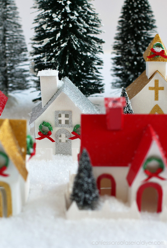 DIY Christmas Village using Duck Tape
