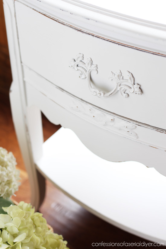 Vintage Night Tables painted in Fluff by Dixie Belle Paint, from confessionsofaserialdiyer.com