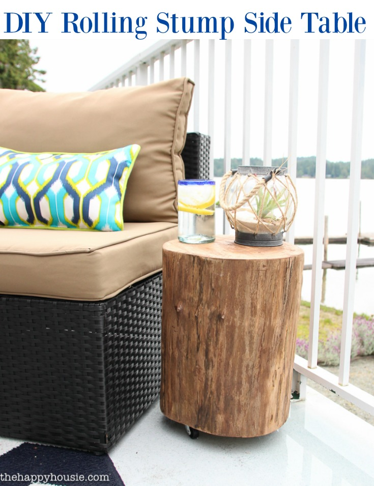 DIY Outdoor Rolling Stump Side Table from The Happy Housie