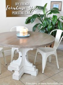 Farmhouse Style Round Pedestal Table from Her Tool Belt