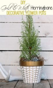 DIY Gold & White Herringbone Decorative Flower Pots from The Happy Housie