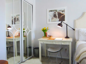 Mirrored Closet Door Makeover from The Honeycomb Home