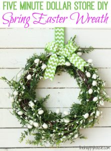 Five Minute Dollar Store DIY Spring Easter Wreath from The Happy Housie