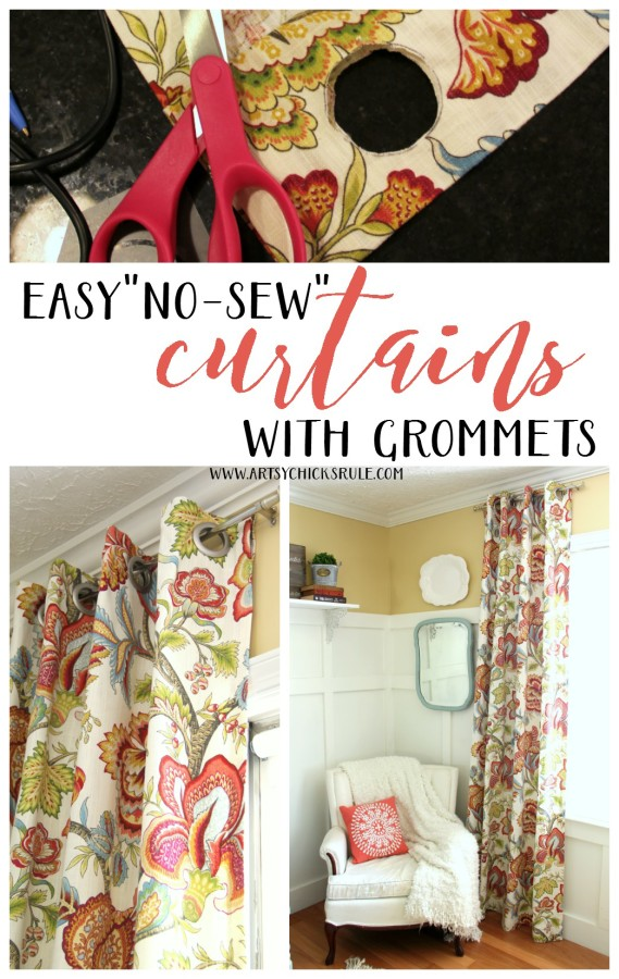 How To Make No Sew Curtains with Grommets from Artsy Chicks Rule