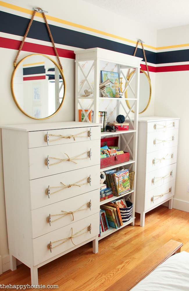 Ikea Tarva Dresser Hack: Nautical Style Dresser with Dock Cleat Handles from The Happy Housie