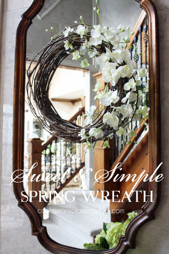 Super simple spring wreath from Confessionsofaserialdiyer.com
