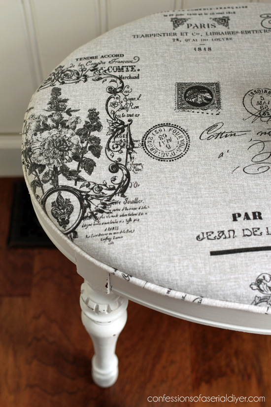 Oval vanity stool makeover from confessionsofaserialdiyer.com