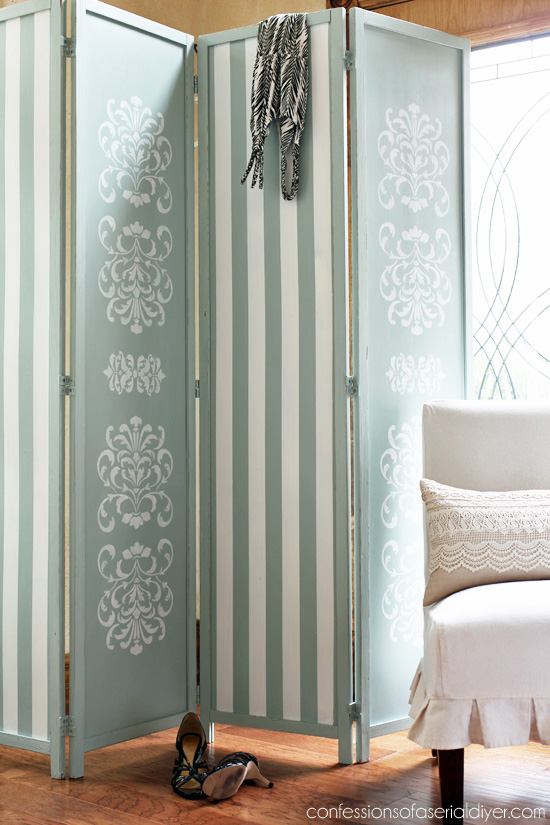 Folding Screen updated with stencils and stripes from confessionsofaserialdiyer.com