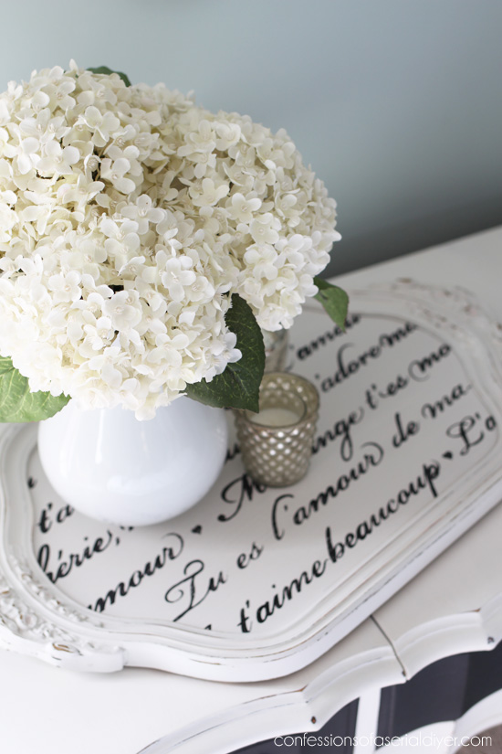 French love letter stencil updates this pretty tray!