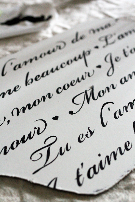 French love letter stencil