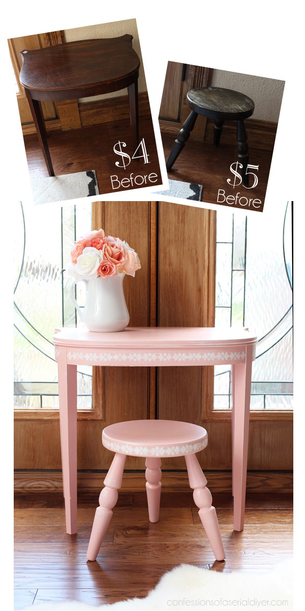 Little girl's vanity set from an antique side table and stool, painted in Taffy Twist by Behr. confessionsofaserialdiyer.com