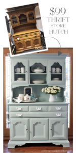 hrift Store Hutch made over with Behr's Gray Morning and White mixed from confessionsofaserialdiyer.com